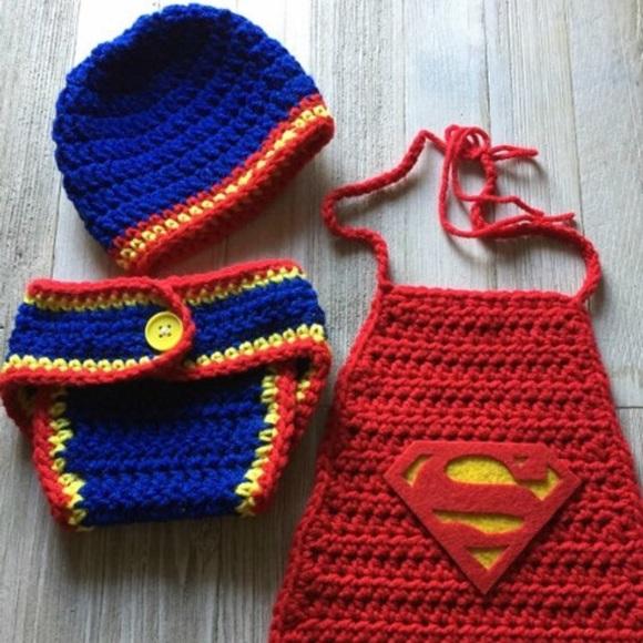 Handmade Costumes Crochet Baby Superhero Superman Set Poshmark